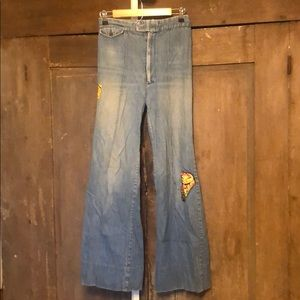 Vintage 70s bell bottoms with patches NEED REPAIR